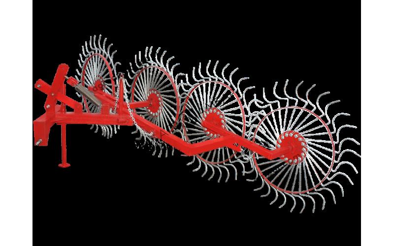 Грабли ворошилки, на квадратной трубе (5 солнышек, спица оцинкованная)